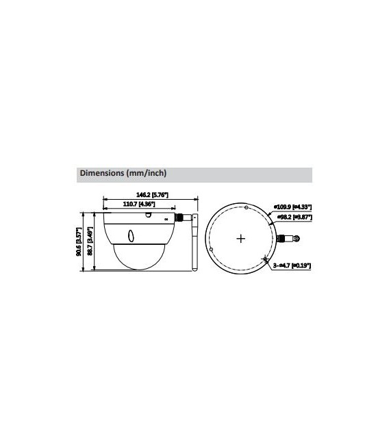 Cámara DAHUA minidomo ip de 3 megapíxeles y óptica fija